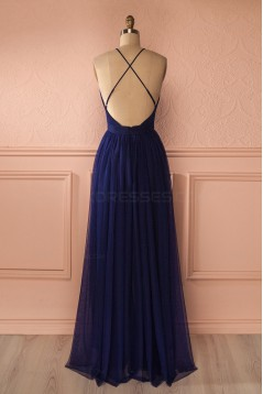 Sexy Long Blue Low V-Neck Simple Tulle Prom Party Dresses 3020562