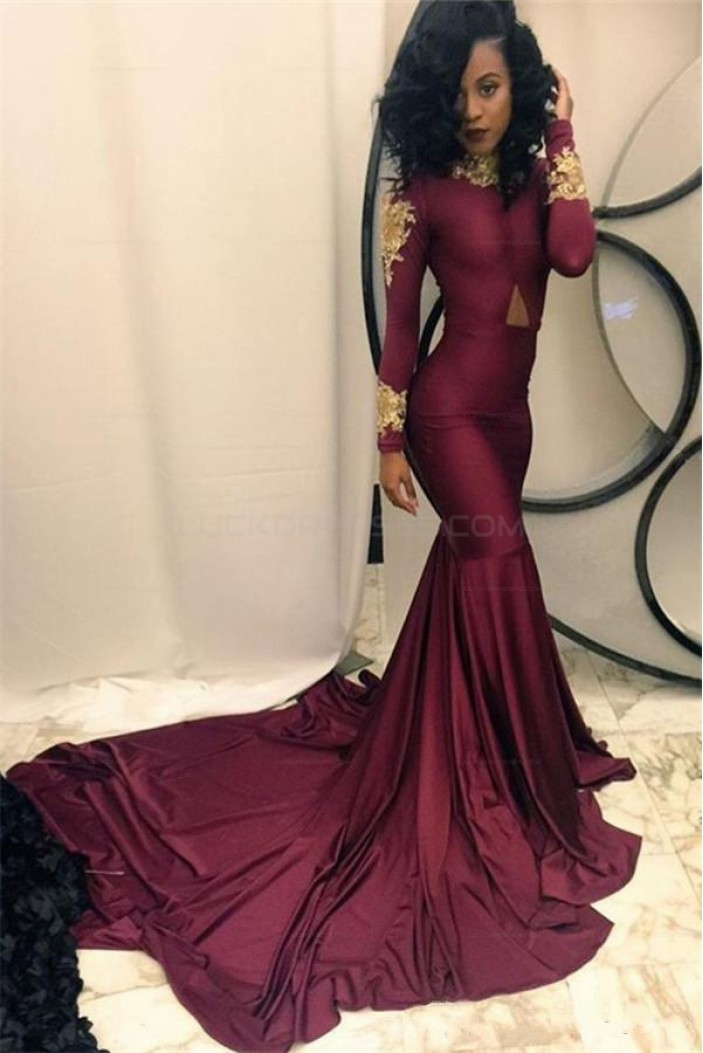 Sexy Mermaid Long Sleeves Prom Evening Dresses with Gold Lace Appliques 3020565