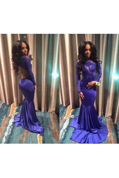 Long Blue Mermaid Lace Long Sleeves Prom Evening Dresses 3020570