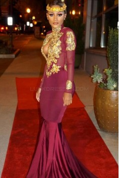Mermaid High Neck Long Sleeves Prom Evening Dresses with Gold Appliques 3020572