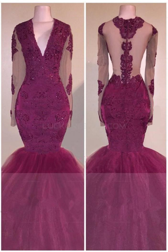 Mermaid Long Sleeves V-Neck Long Prom Evening Dresses 3020574
