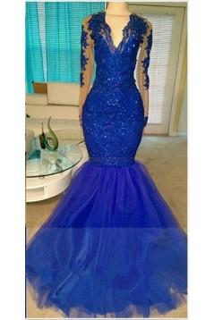 Long Blue V-Neck Mermaid Lace Prom Evening Dresses 3020576