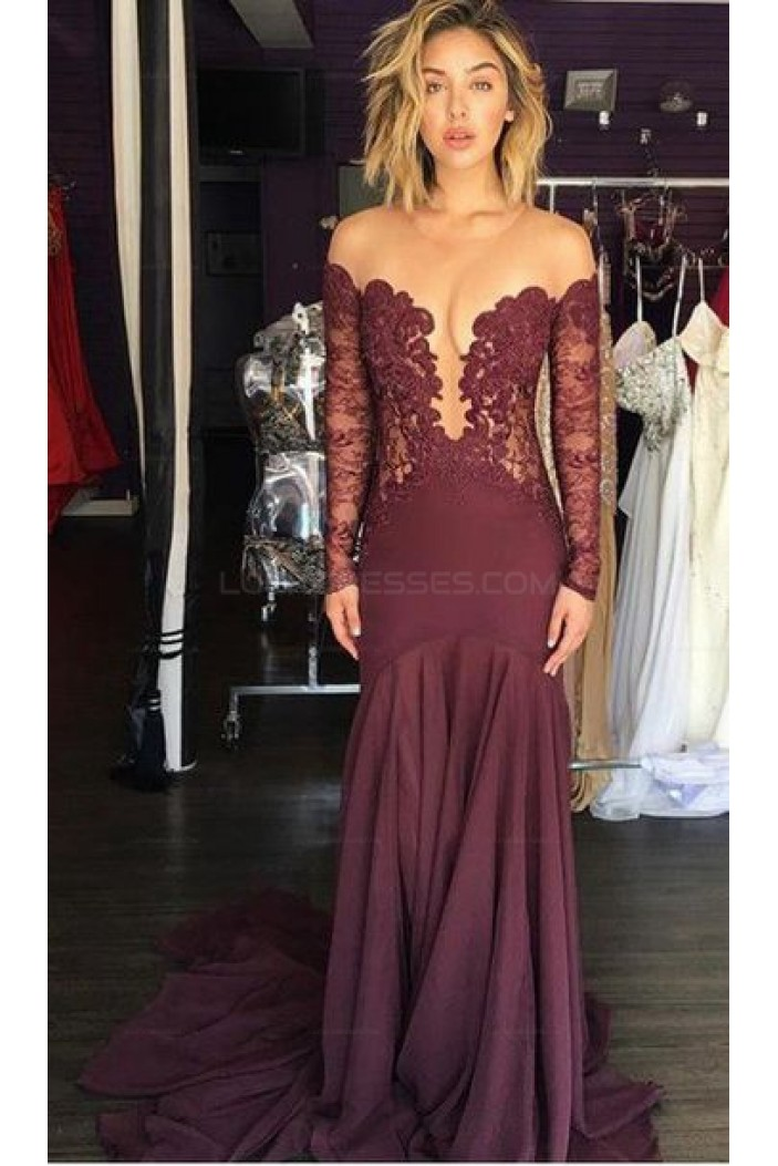 Sexy Lace Long Sleeves Illusion Neckline Long Prom Evening Dresses 3020582