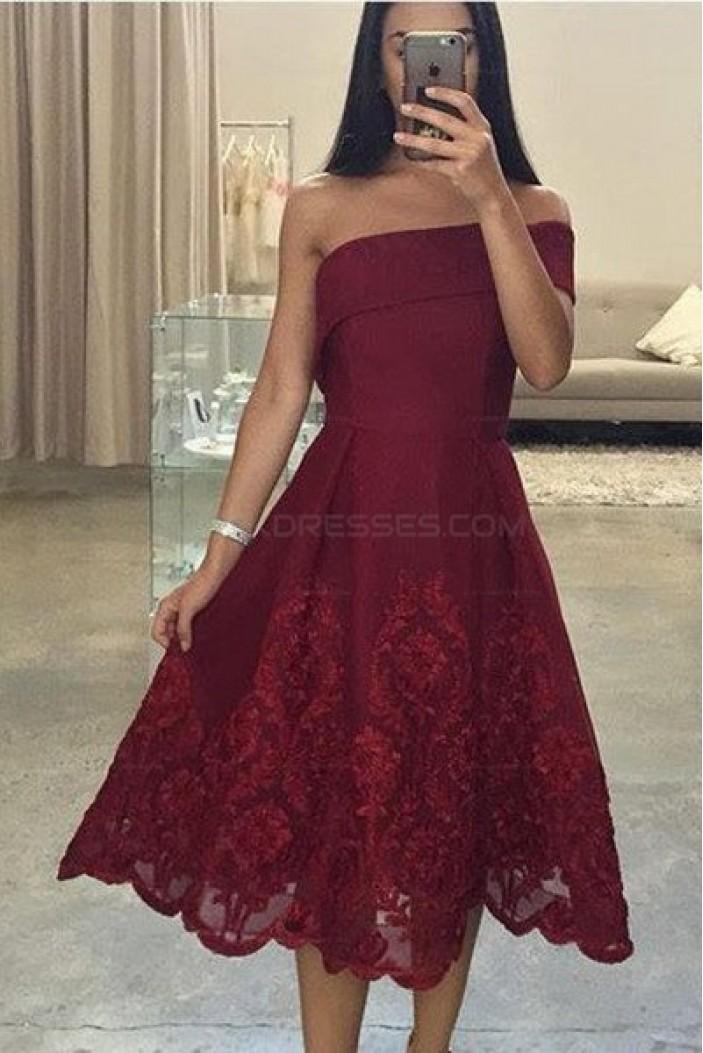 Tea Length Lace Burgundy Prom Evening Dresses 3020585
