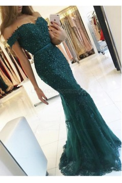 Mermaid Off-the-Shoulder Lace Long Prom Evening Dresses 3020586