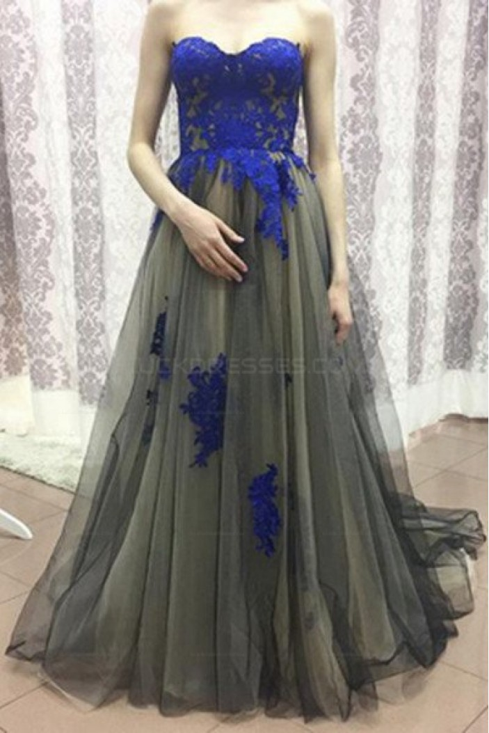Long Tulle Prom Evening Dresses with Blue Lace Appliques 3020588