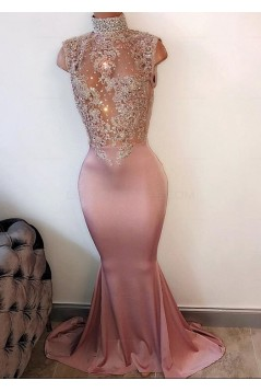Mermaid High Neck Long Prom Evening Dresses with Lace Appliques 3020589