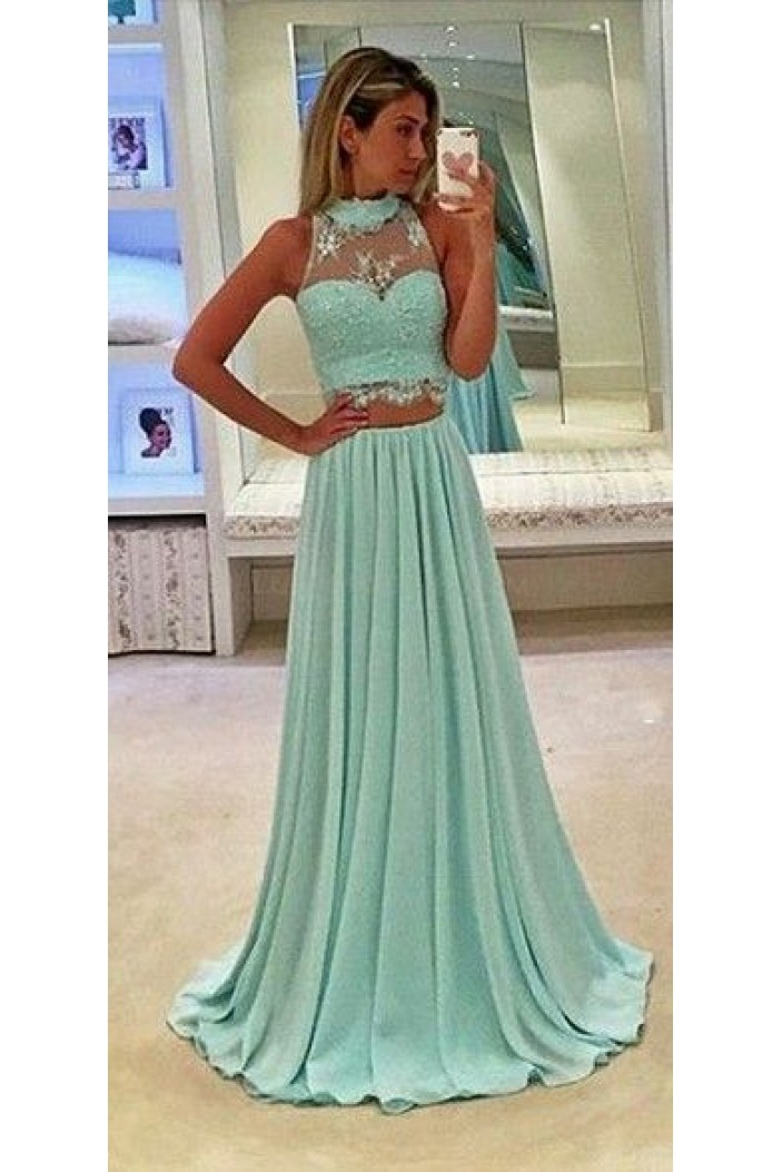 Mint Green Two Pieces Lace Chiffon Prom Evening Dresses 3020592