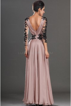 Sexy Long Sleeves V-Neck Prom Evening Dresses with Black Lace Appliques 3020595