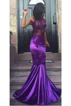 Long Purple Mermaid Lace Prom Evening Party Dresses 3020598