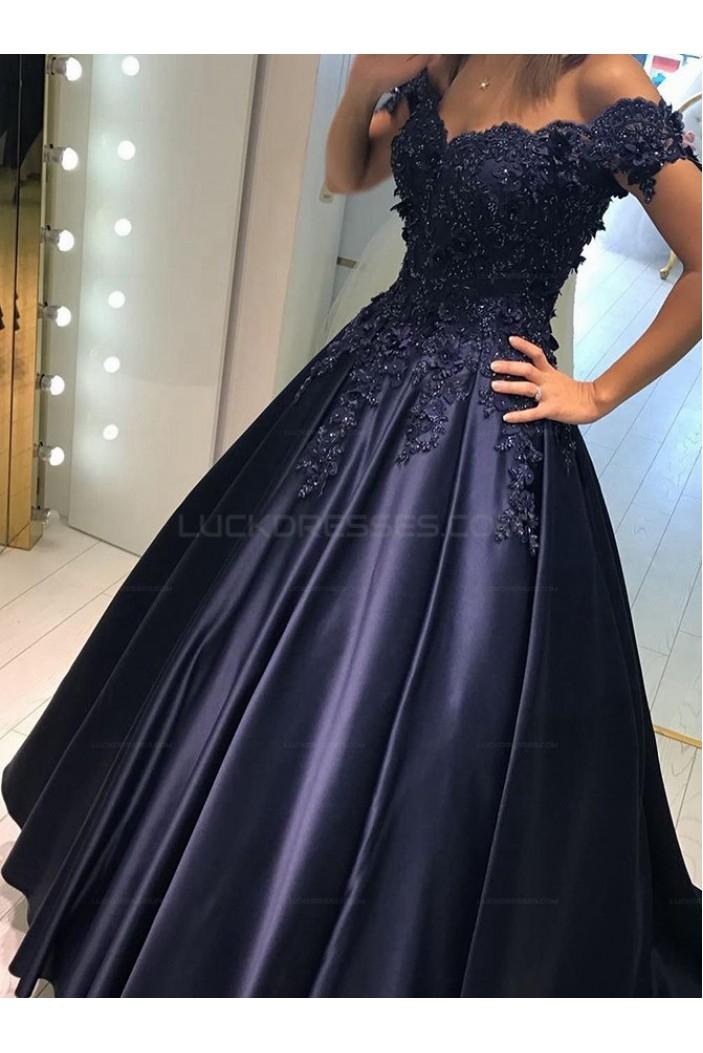 Elegant Long Blue Off-the-Shoulder Beaded Lace Prom Evening Dresses 3020600