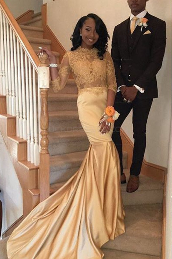 Mermaid Gold Lace Long Prom Evening Dresses 3020602