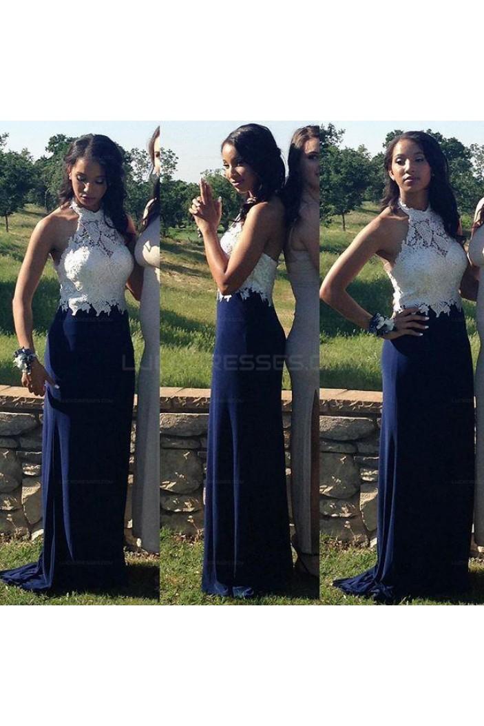 Elegant Halter Long Blue White Lace Prom Evening Dresses 3020604