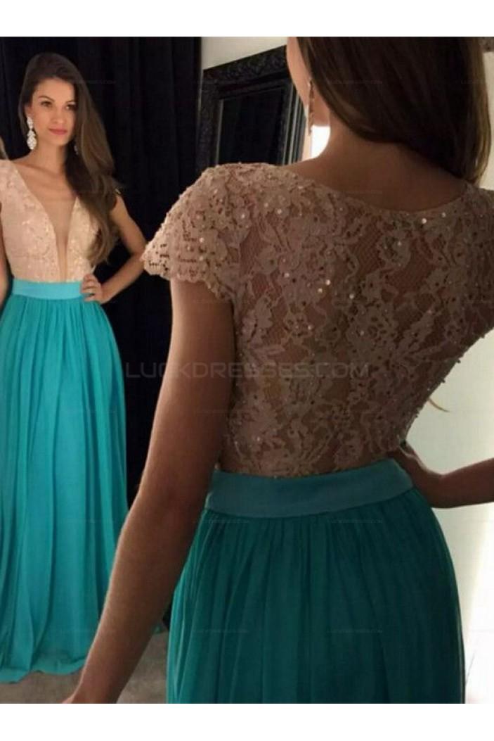 Cap Sleeves Lace Chiffon Long Prom Evening Dresses 3020605