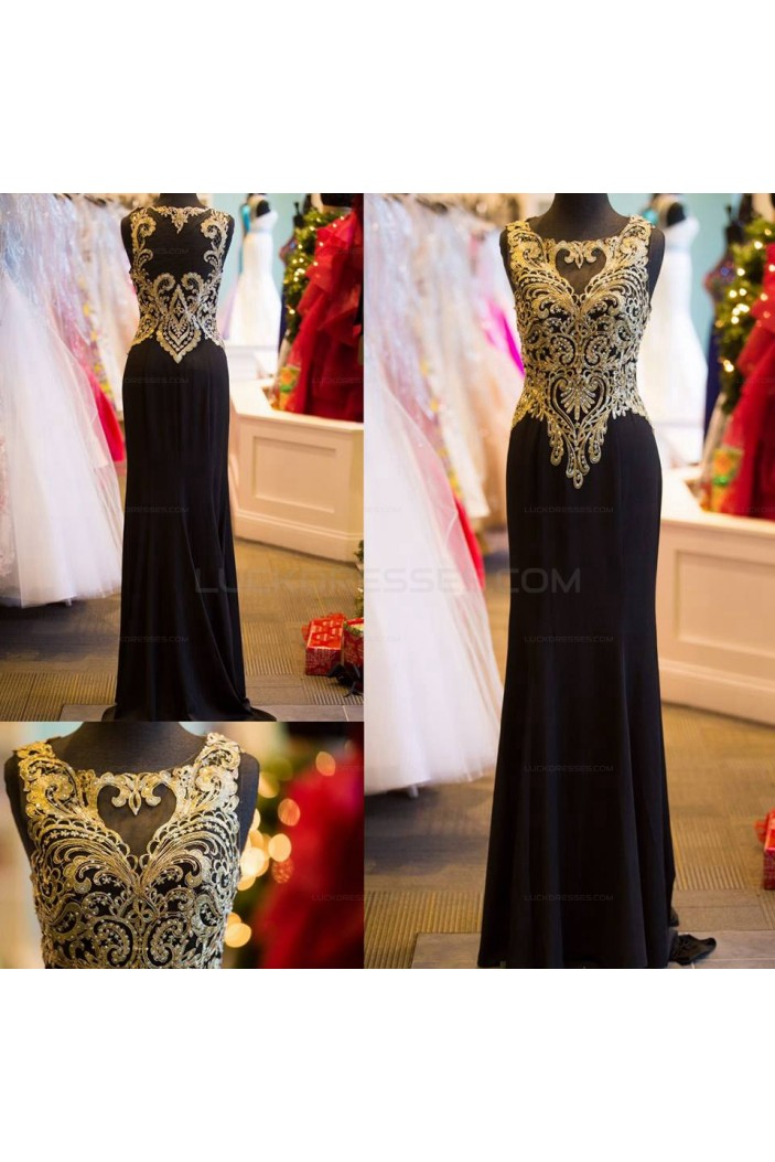 Long Black Beaded Prom Evening Formal Dresses with Gold Lace Appliques 3020607