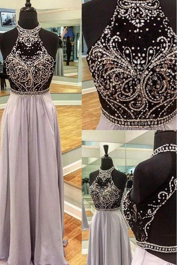 Beaded Long Chiffon Prom Evening Dresses 3020608