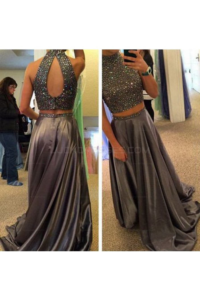 Beaded Two Pieces Long Prom Evening Party Dresses 3020612