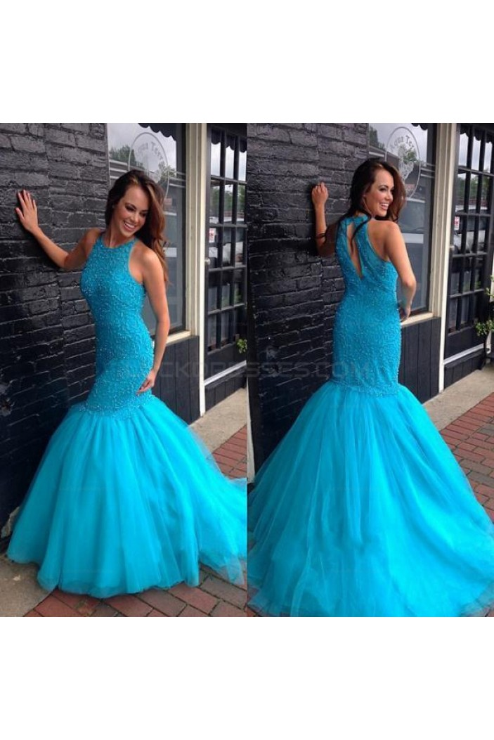 Mermaid Long Blue Prom Evening Party Dresses 3020614
