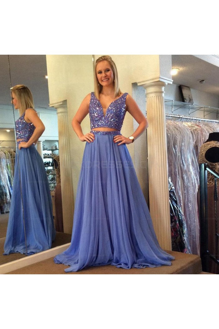 Beaded Two Pieces Long Prom Evening Party Dresses 3020615