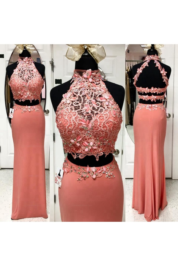 Beaded Two Pieces Lace Long Prom Evening Party Dresses 3020616