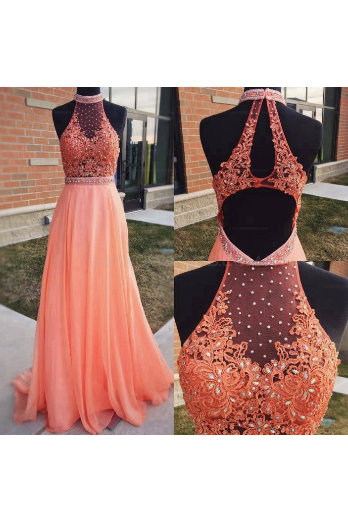 A-Line Beaded Lace Long Prom Evening Party Dresses 3020618