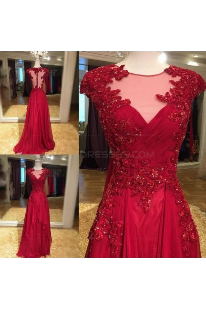 Long Red Beaded Lace Appliques Prom Evening Party Dresses 3020619