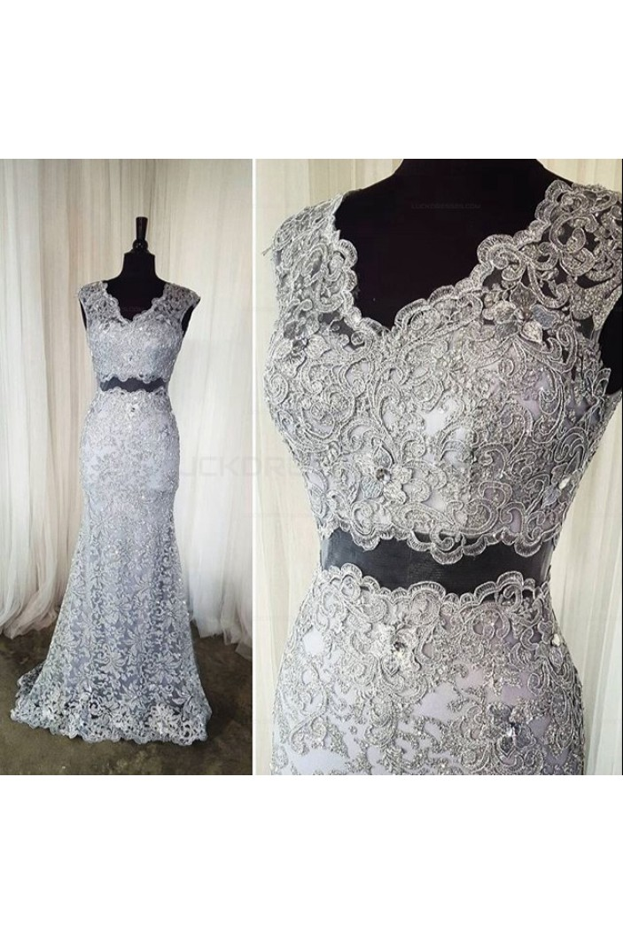 Two Pieces V-Neck Lace Long Prom Evening Party Dresses 3020620