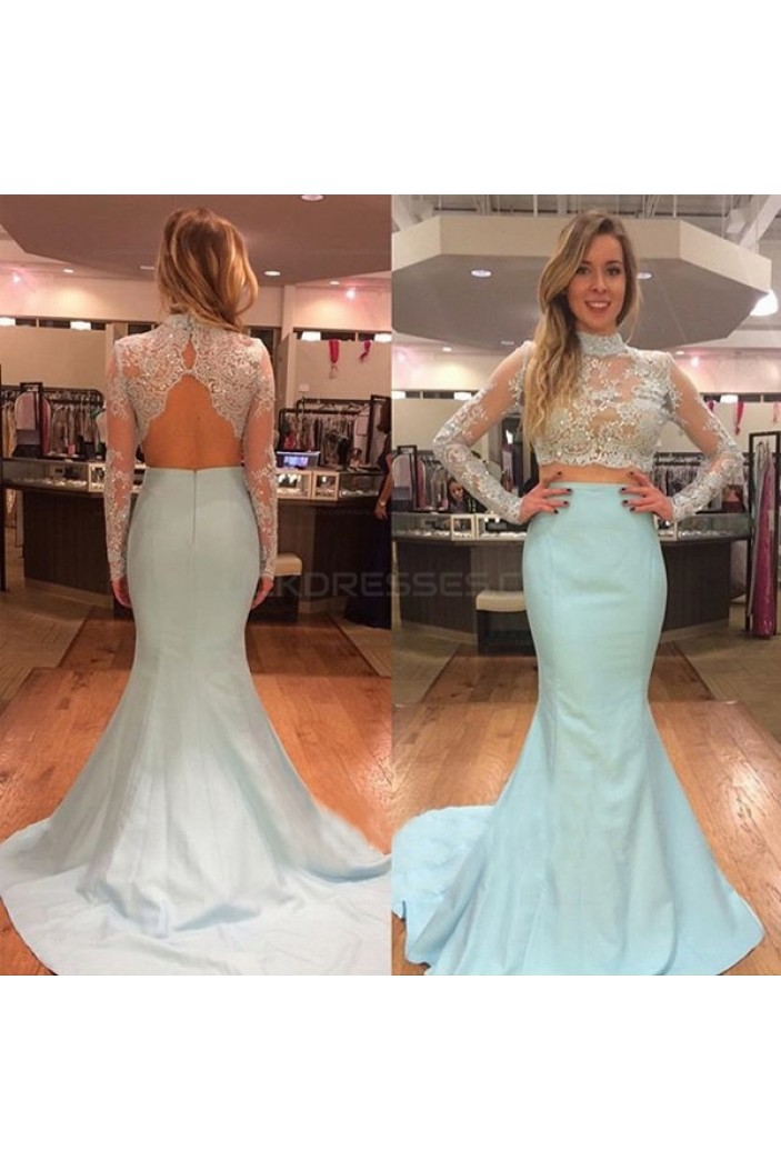 Long Sleeves Two Pieces Mermaid Beaded Lace Prom Evening Party Dresses 3020621