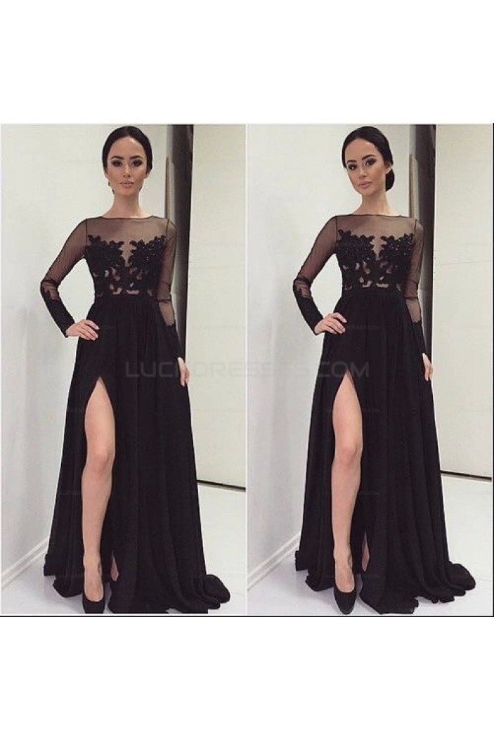 Long Black Lace Chiffon Prom Evening Party Dresses 3020622