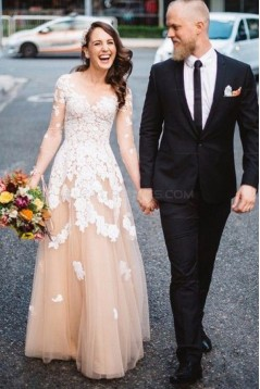 Long Sleeves V-Neck Lace Appliques Prom Evening Party Dresses 3020624