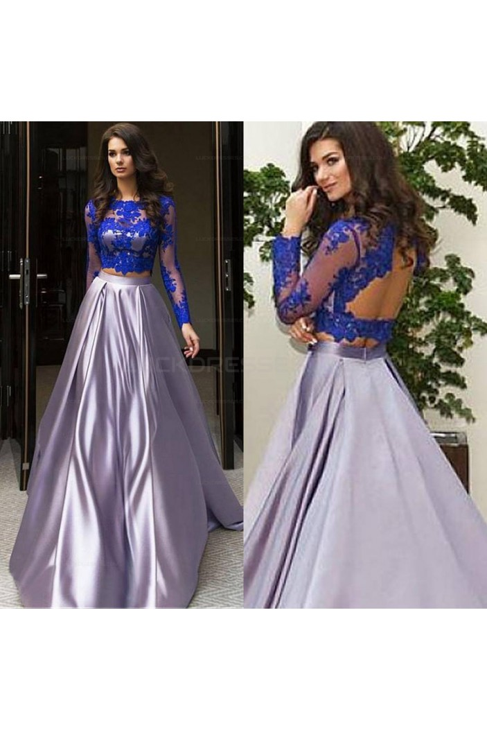 Two Pieces Long Sleeves Lace Prom Evening Party Dresses 3020626