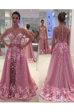 Long Sleeves Pink Lace Appliques Prom Evening Party Dresses 3020629