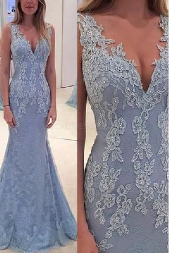 Mermaid V-Neck Lace Long Prom Evening Party Dresses 3020637