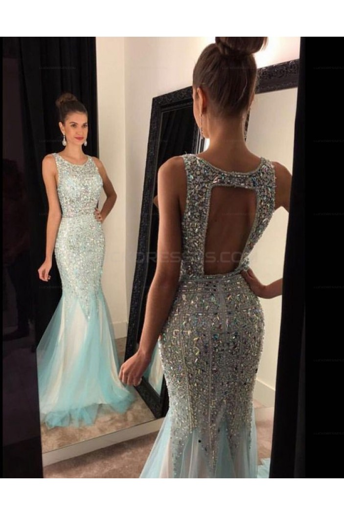 Mermaid Beaded Long Prom Evening Party Dresses 3020639