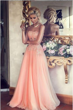A-Line Beaded Lace Appliques Long Prom Evening Party Dresses 3020641