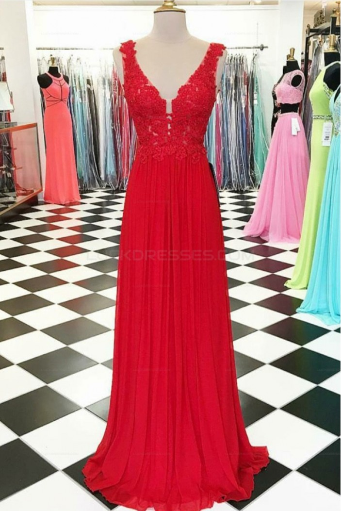 Long Red V-Neck Chiffon Lace Appliques Prom Evening Party Dresses 3020642