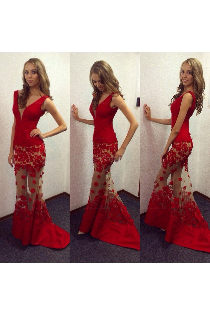 Sexy Mermaid Long Red V-Neck Lace Prom Evening Party Dresses 3020643