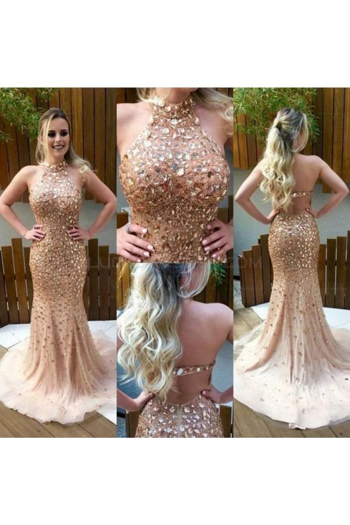 Mermaid Halter Beaded Long Prom Evening Party Dresses 3020645