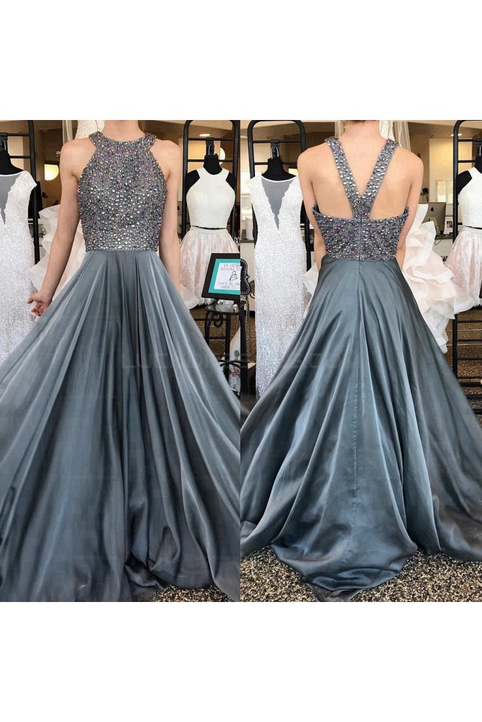 A-Line Beaded Long Prom Evening Party Dresses 3020647