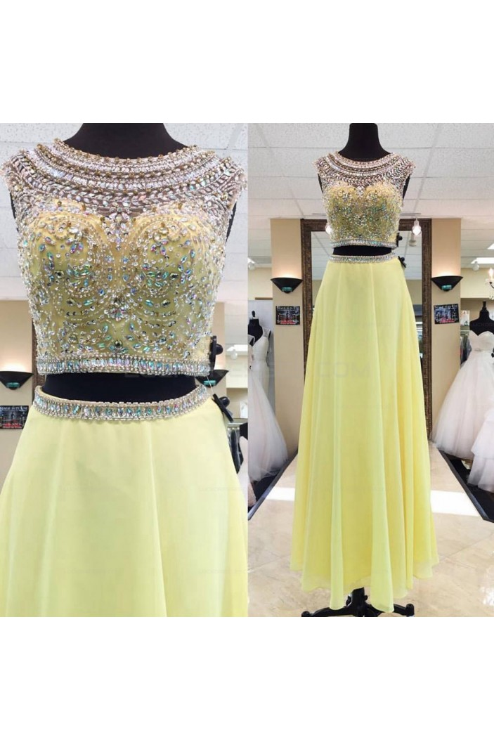 Beaded Two Pieces Long Yellow Prom Evening Party Dresses 3020649