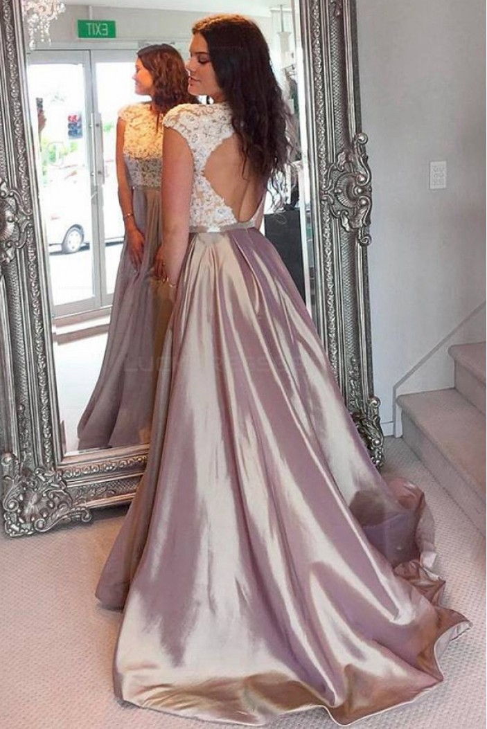 A-Line Cap Sleeves Lace Appliques Long Prom Evening Party Dresses 3020650