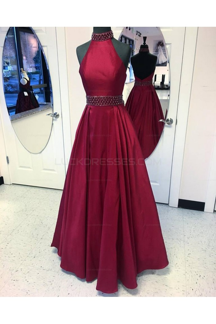 A-Line Halter Beaded Long Prom Evening Party Dresses 3020652