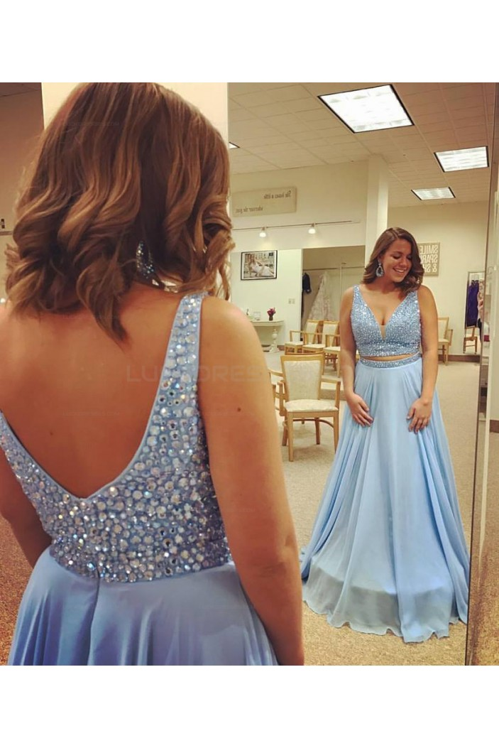 Long Blue Beaded Plus Size Prom Evening Party Dresses 3020657
