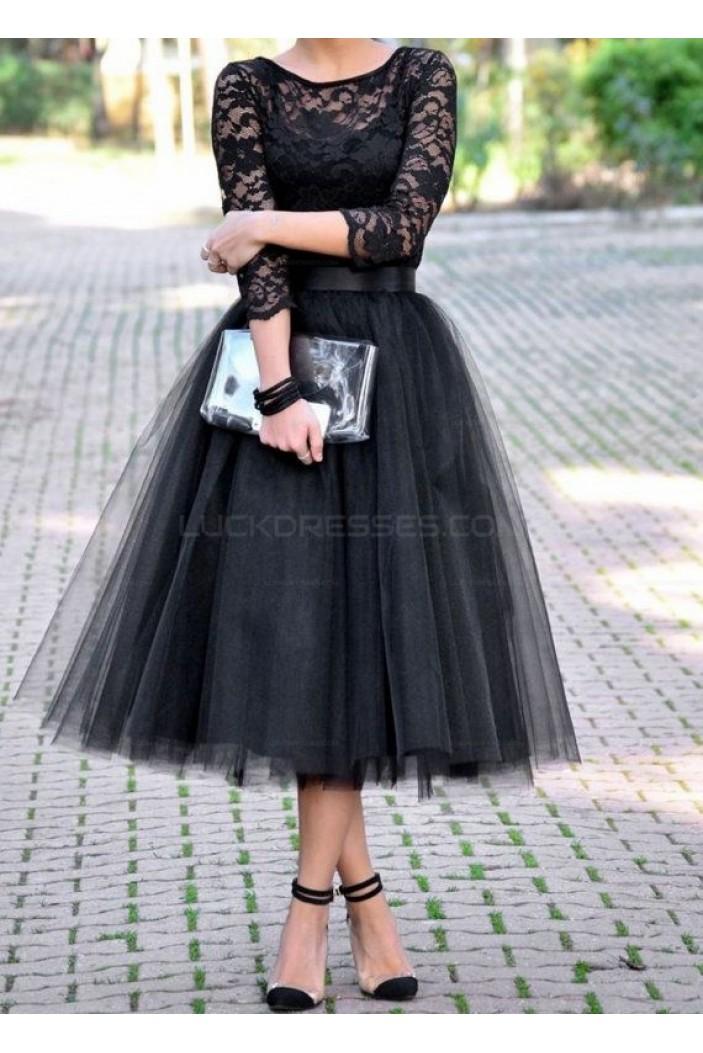Black Lace Tea Length Prom Evening Party Dresses 3020659