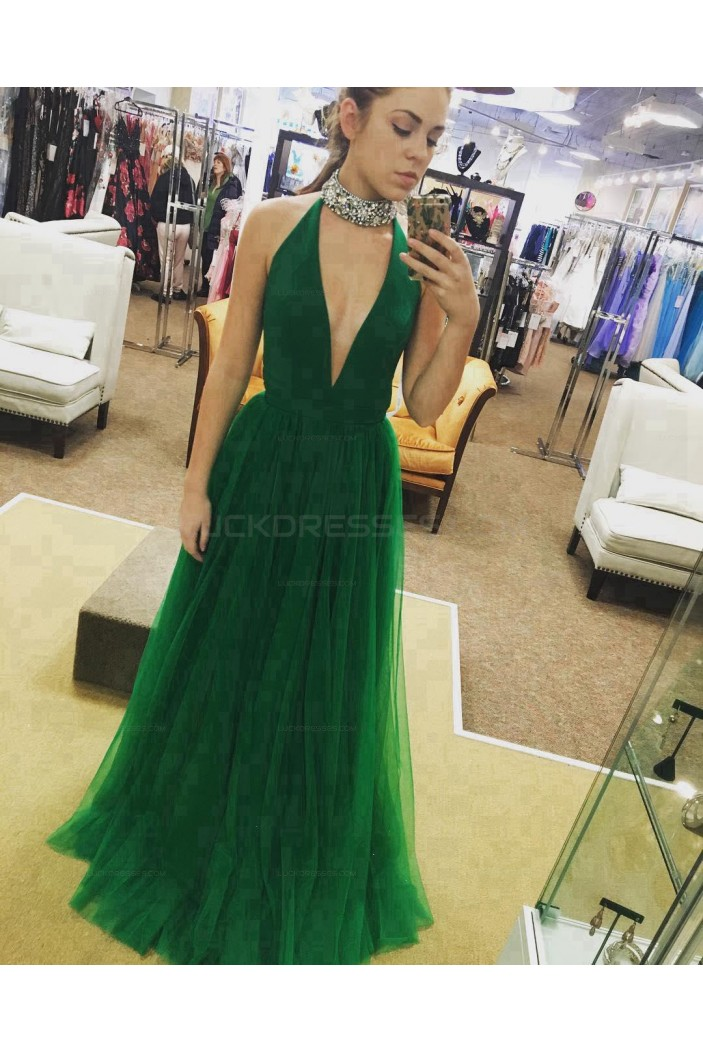Long Green Beaded Deep V-Neck Prom Evening Party Dresses 3020660