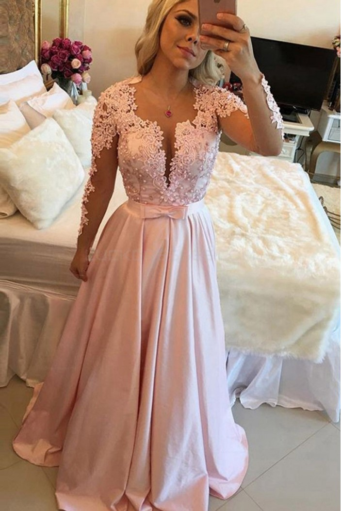 Long Sleeves Beaded Lace Prom Evening Party Dresses 3020663