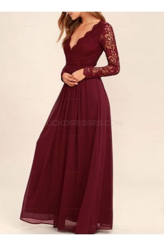 Long Sleeves V-Neck Lace Chiffon Prom Evening Party Dresses 3020665
