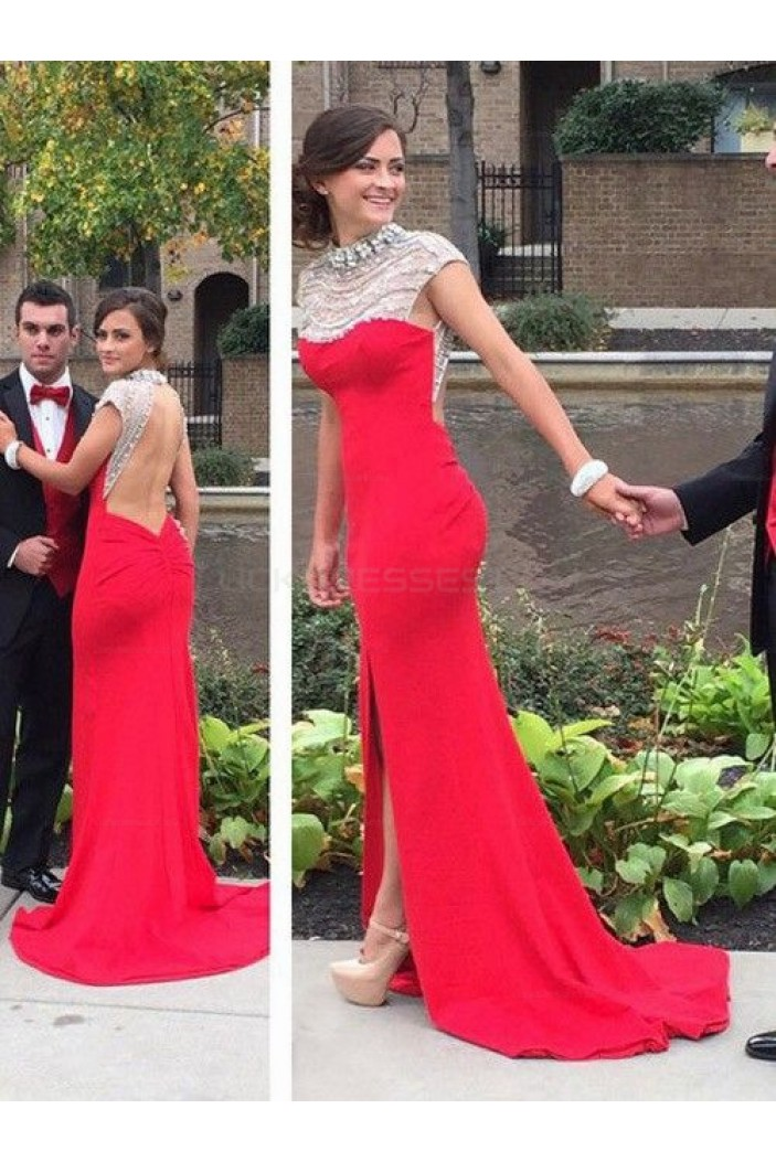 Long Red Beaded Prom Evening Party Dresses 3020667