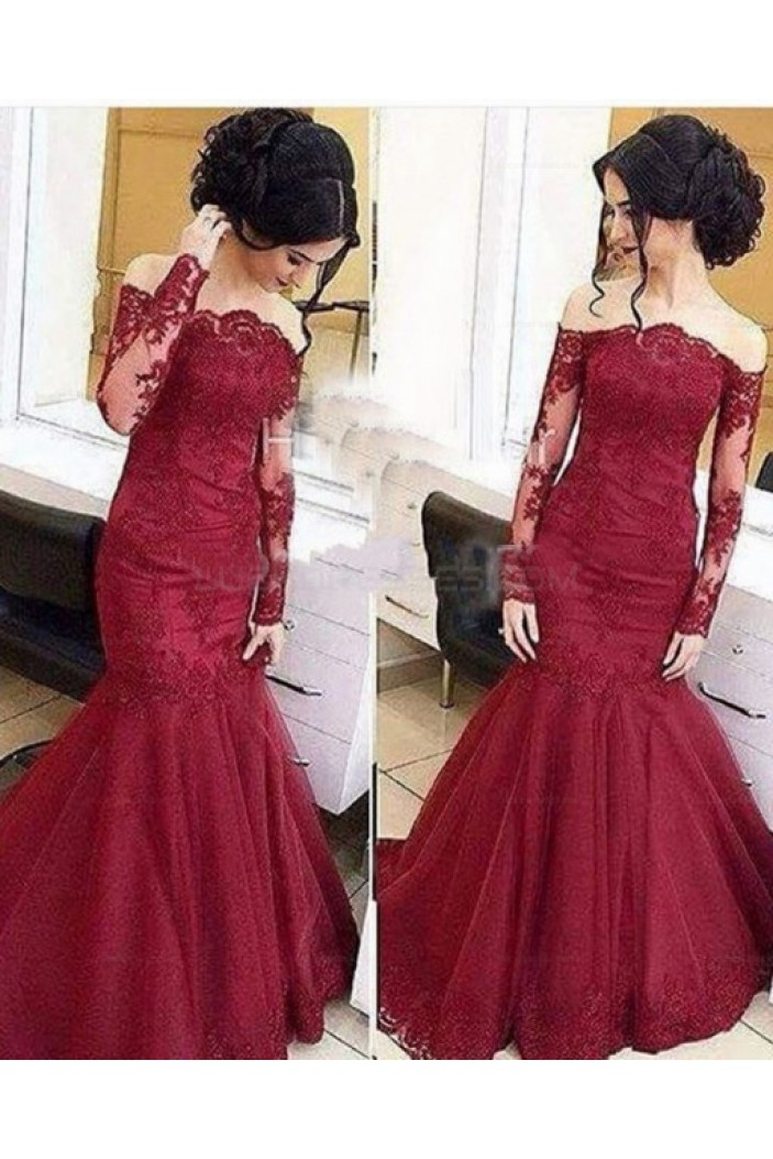 Mermaid Lace Long Sleeves Prom Evening Party Dresses 3020668