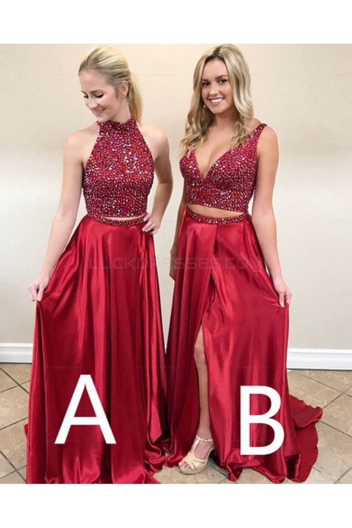 Long Red Beaded Prom Evening Party Dresses 3020673